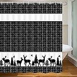 MERCHR Deer Decor Rustic Farmhouse Shower Curtain, Buffalo Check Plaid...