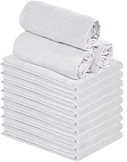 Talvania Classic White Flour Sack Towels - 12-Pack of 100% Ring Spun Cotton Extra Thick Home Kitchen Dish Towel. Soft Abso...