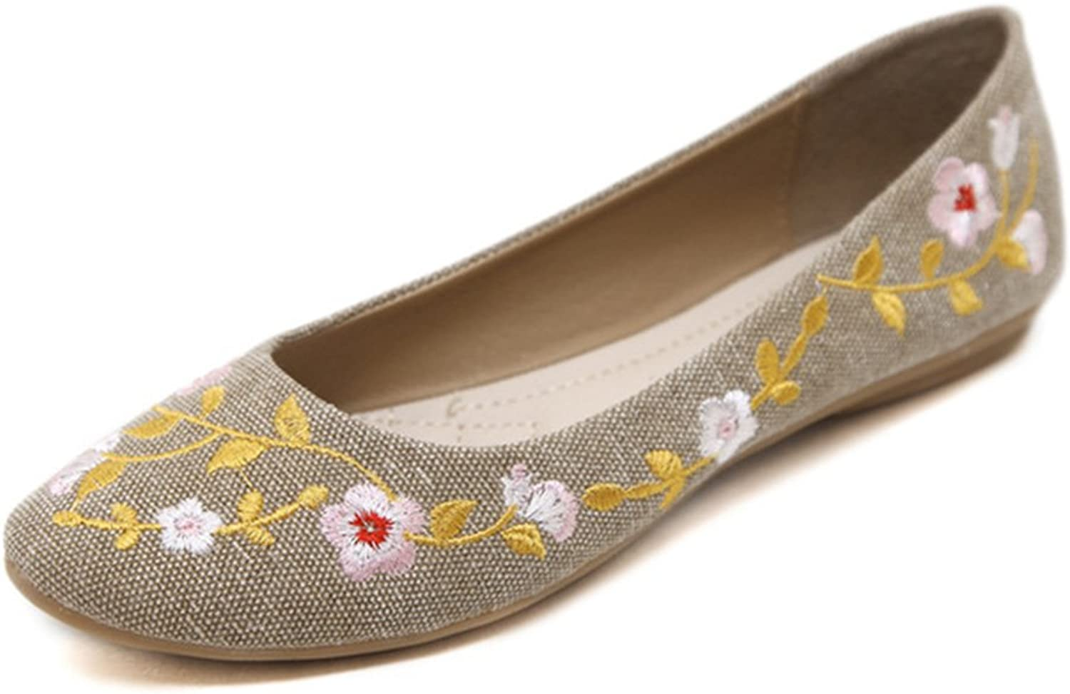 York Zhu Ballet Flats for Women, Slip on Comfortable Flower Embroidery Ladies shoes