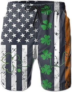 Men's Beach Shorts Swim Trunks Heartbeat Clover Irish ST. Patrick's Day Board Shorts with Pockets