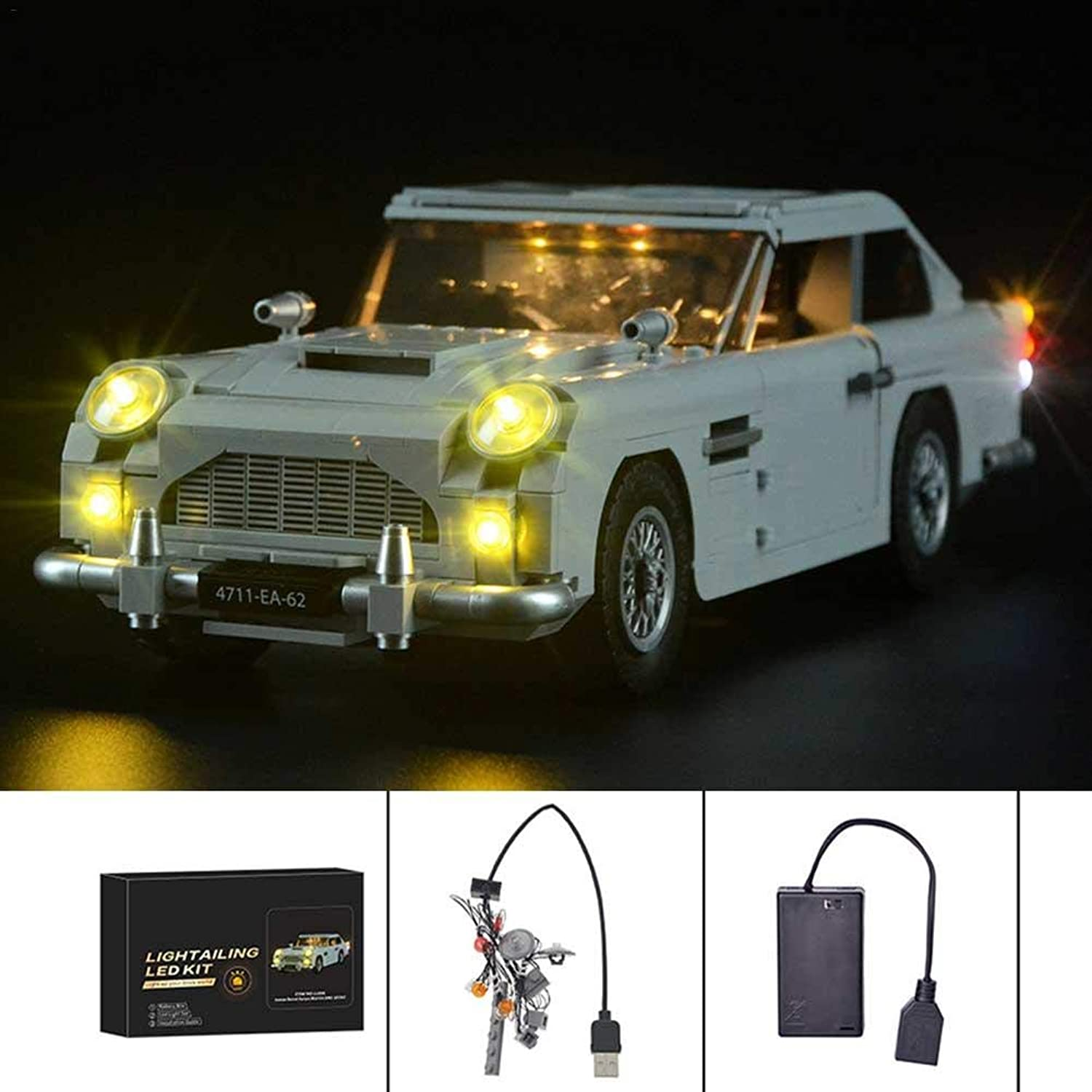 Beperfectly For-Lego-James-Bond-Bricks-Toys-10262 LED-Light-Kit-For-Lego-James-Bond-Bricks-Toys-10262-Aston-Martin-DB5-Lighting(Lego Set not Included)