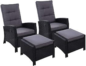 Gardeon 2PC Sun Lounge Recliner Chair Wicker Lounger Sofa Day Bed Outdoor Chairs Patio Furniture Garden Cushion Ottoman Ga...