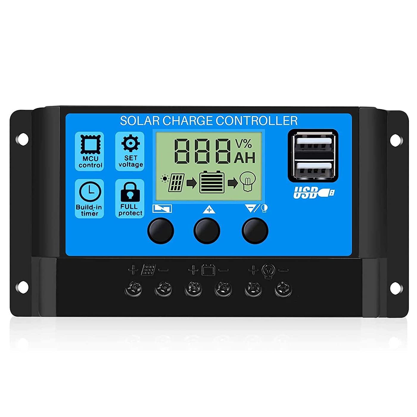 Controlador De Carga Solar[30A], Identificación Automática 12V / 24V, Pantalla LCD e Interfaz USB, Protección Eléctrica, Ajuste De Carga y Descarga, Control De Luz y Control De Tiempo