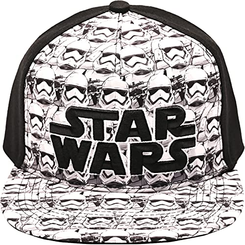 Disney Star Wars Embroidered Logo and Stormtrooper All Over Adjustable Snapback Baseball Hat with Flat Brim, Black, One Size