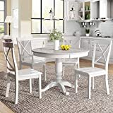 LUMISOL 5 Piece Round Dining Table Set, 1 Kitchen Table with Marble Veneer Top and 4 Chair for Kitchen Room (White)