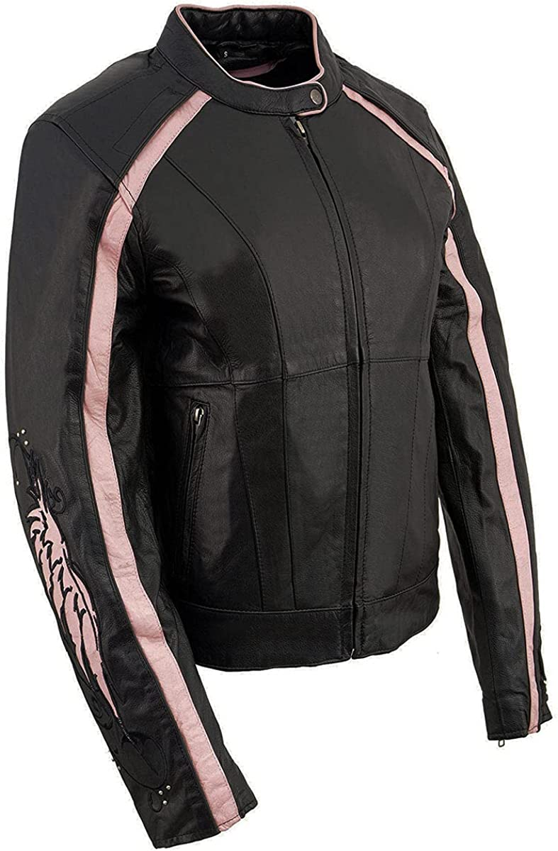 Milwaukee Leather ML1952 Ladies Embroidered Wing and Stud Design Black Leather Scooter Jacket