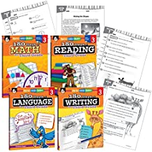180 Days of Practice - 3rd Grade Workbook Set - Includes 4 Assorted Third Grade Workbooks for Daily Practice in Reading, Math, Writing, and Grammar Skills