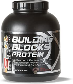Supplement Rx (SRX) - Building Blocks Protein Rich Chocolate 4lbs, Whey Protein Concentrate, Whey Protein Isolate, Egg White Protein Powder, Weight Loss, Gluten Free, BCAA, L-Arginine, Protein Shake