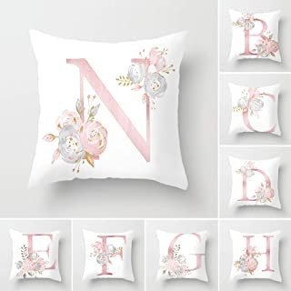 Tillskuch Throw Pillow Covers 26 Decorative English Letters Floral Pillowcases Velvet Soft Cushion Cover White Pillow Protectors for Sofa Bedding Car and Home Decor (18x18 / 45x45cm, Letter N)