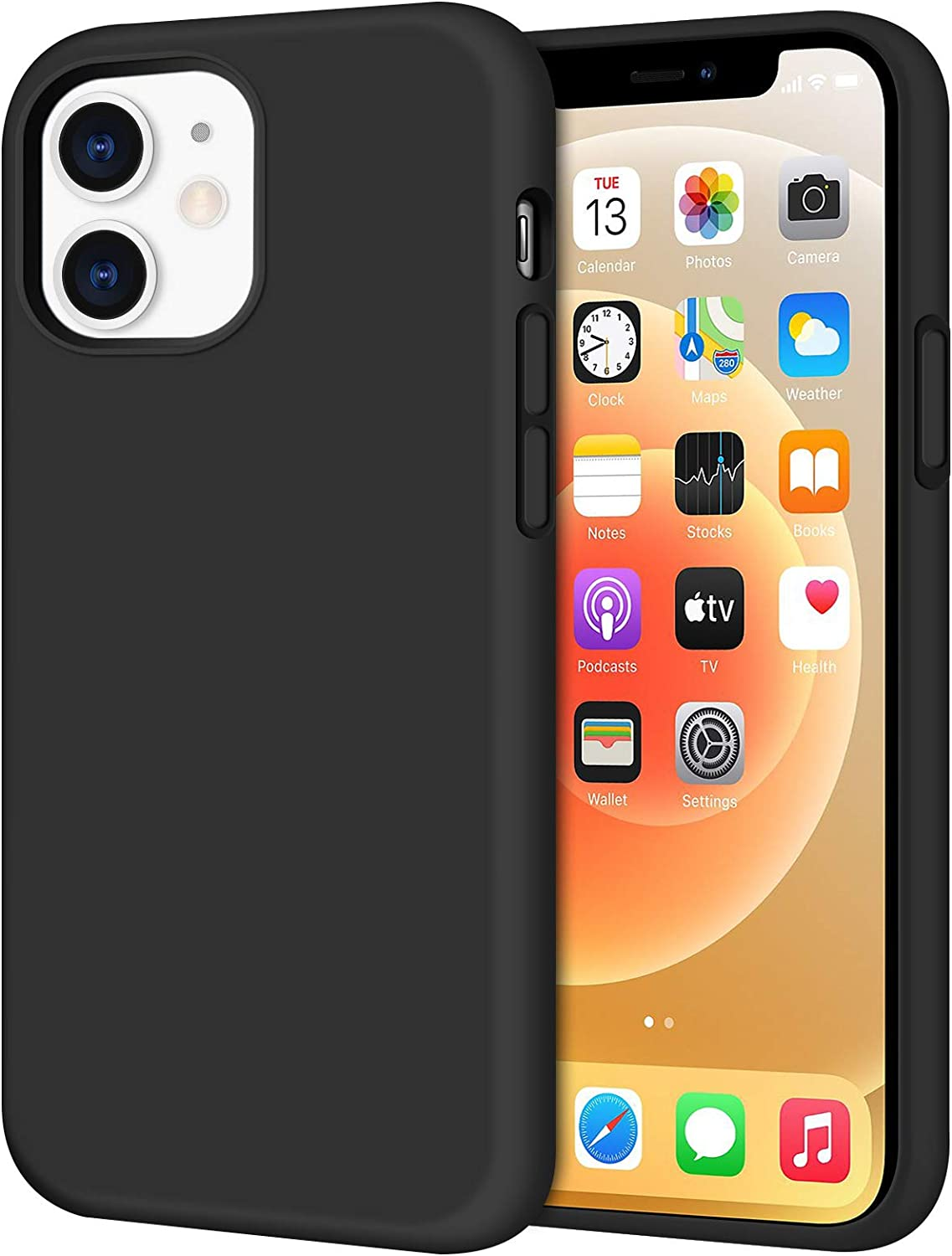 Anuck Compatible with iPhone 12 Case and iPhone 12 Pro Case, Soft Silicone Gel Rubber Bumper Phone Case Microfiber Lining Hard Shell Shockproof Protective Case Cover for iPhone 12/12 Pro 6.1