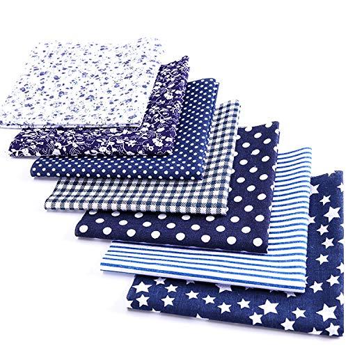 ibalulu 7 Stück 50 x 50 cm Baumwollstoff Meterware zum Nähen - Patchwork Stoffe Paket für Patchwork nähstoffe DIY Stoff Mix (Navy Blau)