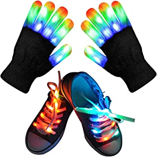 Led Finger Gloves, Kids Led Gloves LED Shoelaces Set Light Up Cool Toys Gifts for Boys Girls, Flashing Gloves for Christma...