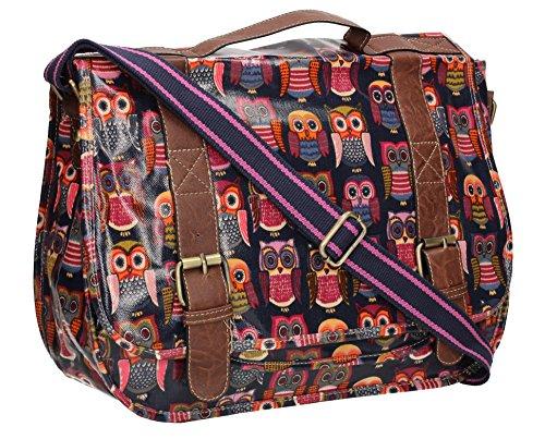 Swanky Multi Owl Print Womens Satchel Girls School College Day Bag in Navy Blue