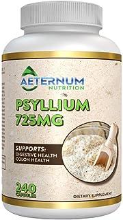 Psyllium Husk Caps Organic Fiber Supplement - 240 Psyllium Husk Powder Capsules 725 Mg per Serving, Supports Healthy Diges...