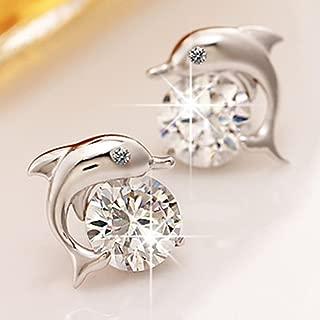 LOVES(ラブズ)[専用ポーチ付き]高品質 キュートなイルカ ピアス  CZダイヤモンド シルバー ギフトに!