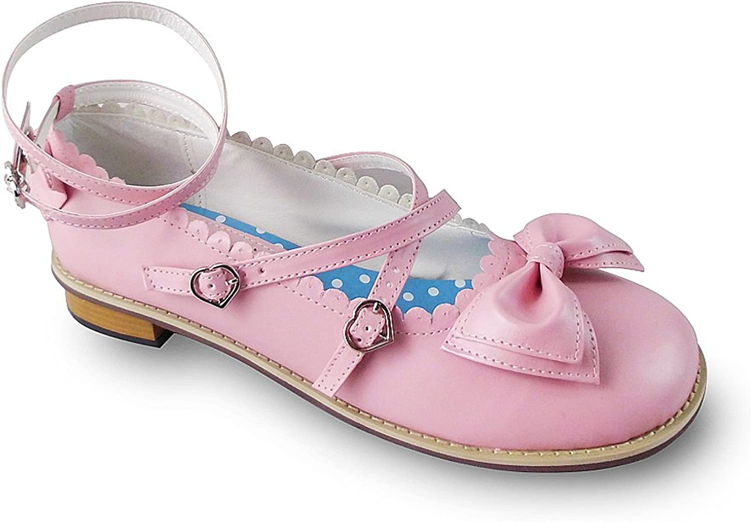 Antaina Low Heel Pink Round Toe Bow Sweet Lolita Casual Dress Flats shoes