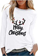 FONMA Women Fashion Christmas T-Shirt Casual Long Sleeve Letter Printed Tops Blouse