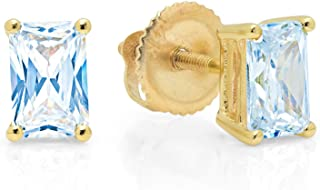 1.94cttw Brilliant Emerald Cut Solitaire Highest Quality Aquamarine Blue Simulated Diamond CZ Unisex Anniversary Gift Stud Earrings Real Solid 14k Yellow Gold Screw Back