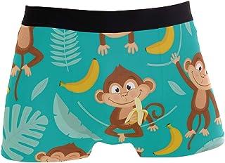 Slip da Uomo Boxer Tropical Leaf Banana Pattern Animal Scimmia Sveglia Intimo Senza Cuciture Maschile Tronchi Stretch Tras...