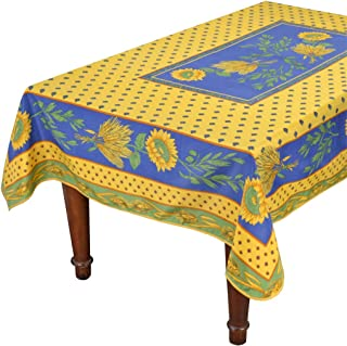 Tournesol Blue/Yellow French Provencal Stain Resistant Tablecloth - 59x94