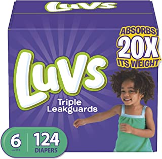Diapers Size 6, 124 Count - Luvs Ultra Leakguards Disposable Baby Diapers, ONE MONTH SUPPLY (Packaging May Vary)