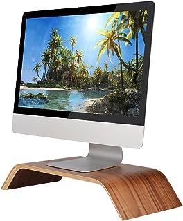 SAMDI Pantalla de Ordenador Soporte, Madera Elevador de Monitor Soporte de Sobremesa Soporte para Portátiles para Apple MacBook Air Pro iMac LCD Monitor PC Televisores Impresora (Nogal Negro)