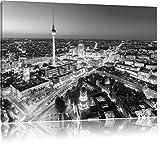 Pixxprint Berlin City Panorama Kunst B&W als Leinwandbild |