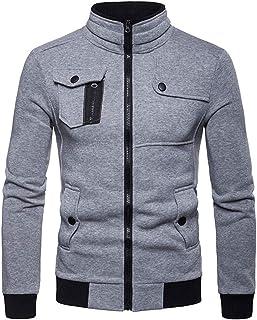 Sweatshirts Men Full Zip Plain Jackets Slim Fit Basic Stand Collar Long Sleeve Sweatshirts Without Hood Casual Sportswear ...