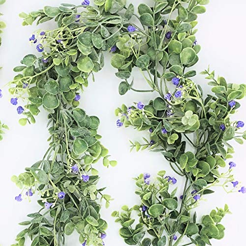 HEP Lifestyle Premium Artificial Eucalyptus Garland | 6.4 Feet Garlands | Hanging Eucalyptus Leaves | Eucalyptus Wedding Decorations | Wedding Garland with or Without Purple or White Flowers (Purple)