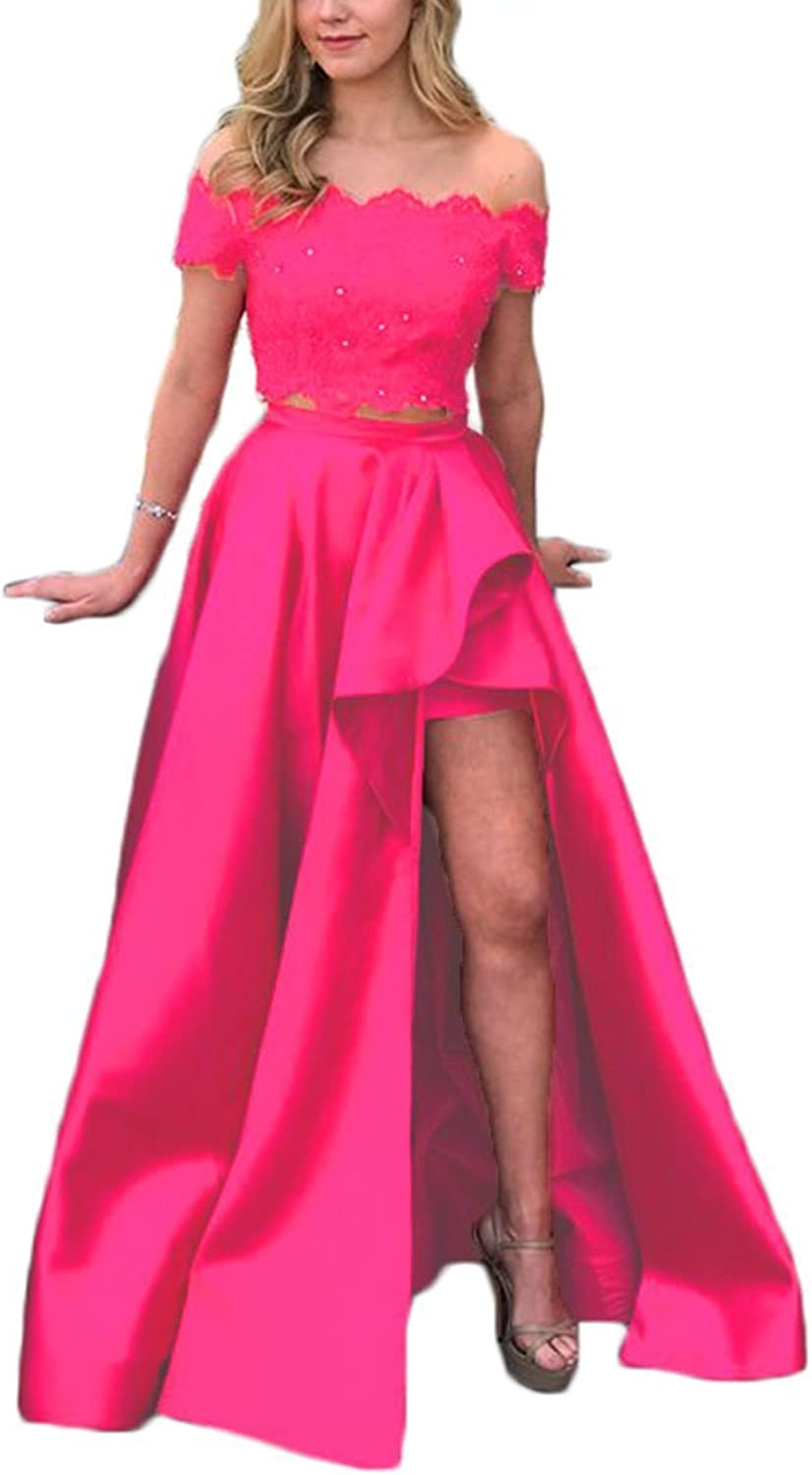 Alilith.Z Sexy Off Shoulder 2 Piece Prom Dresses High Low Beaded Lace Formal Evening Party Dresses Women Long