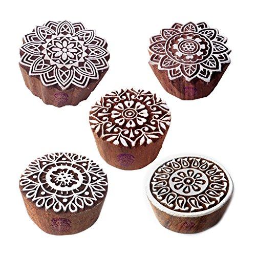 Indisch Entwürfe Blumen und Mandala Holz Stempel für Drucken (Set von 5)