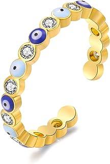 خاتم عين شرير للنساء خاتم الذهب الشر العين الذهب مزروع الذهب الأزرق العين الدائري قابل للتعديل خواتم أوجو للرجال النساء