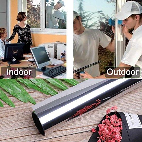 91*300CM Ventana Lámina de Espejo Plata Protector Solar Privacidad Autoadhesivo