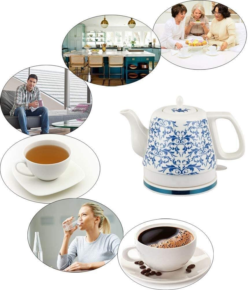 Leilims Bouilloires en céramique Bouilloire électrique sans Fil Eau Teapot, Teapot-Retro 1.2L Jug, 1000W Rapide (Color : A) D