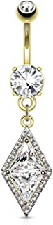 Surgical Steel Fancy Dia-Cut Pave CZ Triangle Dangle Belly Ring (Choose Color)