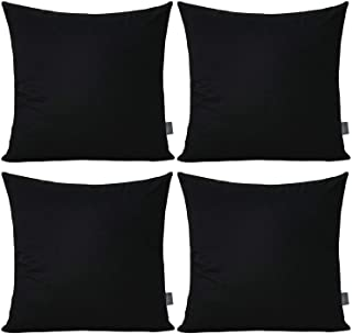 Best 4-Pack 100% Cotton Comfortable Solid Decorative Throw Pillow Case Square Cushion Cover Pillowcase (Cover Only,No Insert)(18x18 inch/ 45x45cm,Black) Review