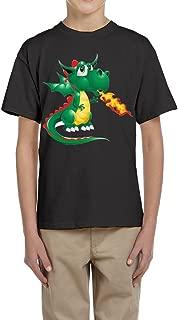 PTCY Design Adolescent T-Shirt Fire Dragon Pterosaur Image White