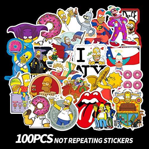 WanTo 100 Piezas Divertidas Pegatinas de Graffiti de Dibujos Animados de Anime Simpsons para Coche Moto y Maleta Pegatinas de computadora portátil Frescas monopatín Pegatinas para niños f3,100 Piezas