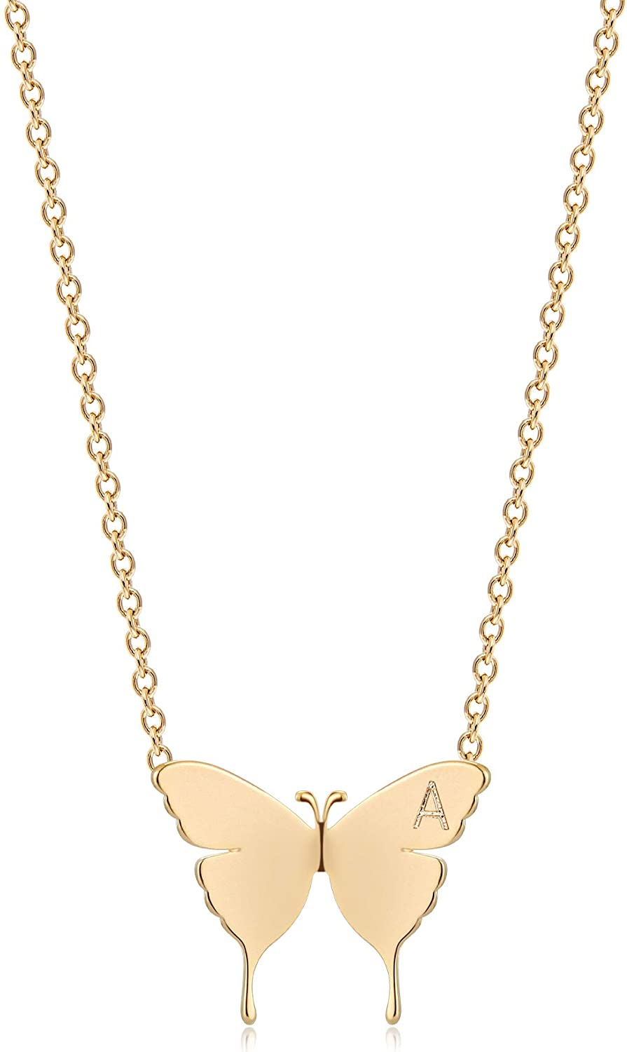 WEARON Gold Dainty Butterfly Necklace,18K Gold Plated Tiny Butterfly Charm Necklace Initial Necklace Butterfly Pendant Necklaces Delicate Everyday Necklace for Women Minimalist Personalized Jewelry