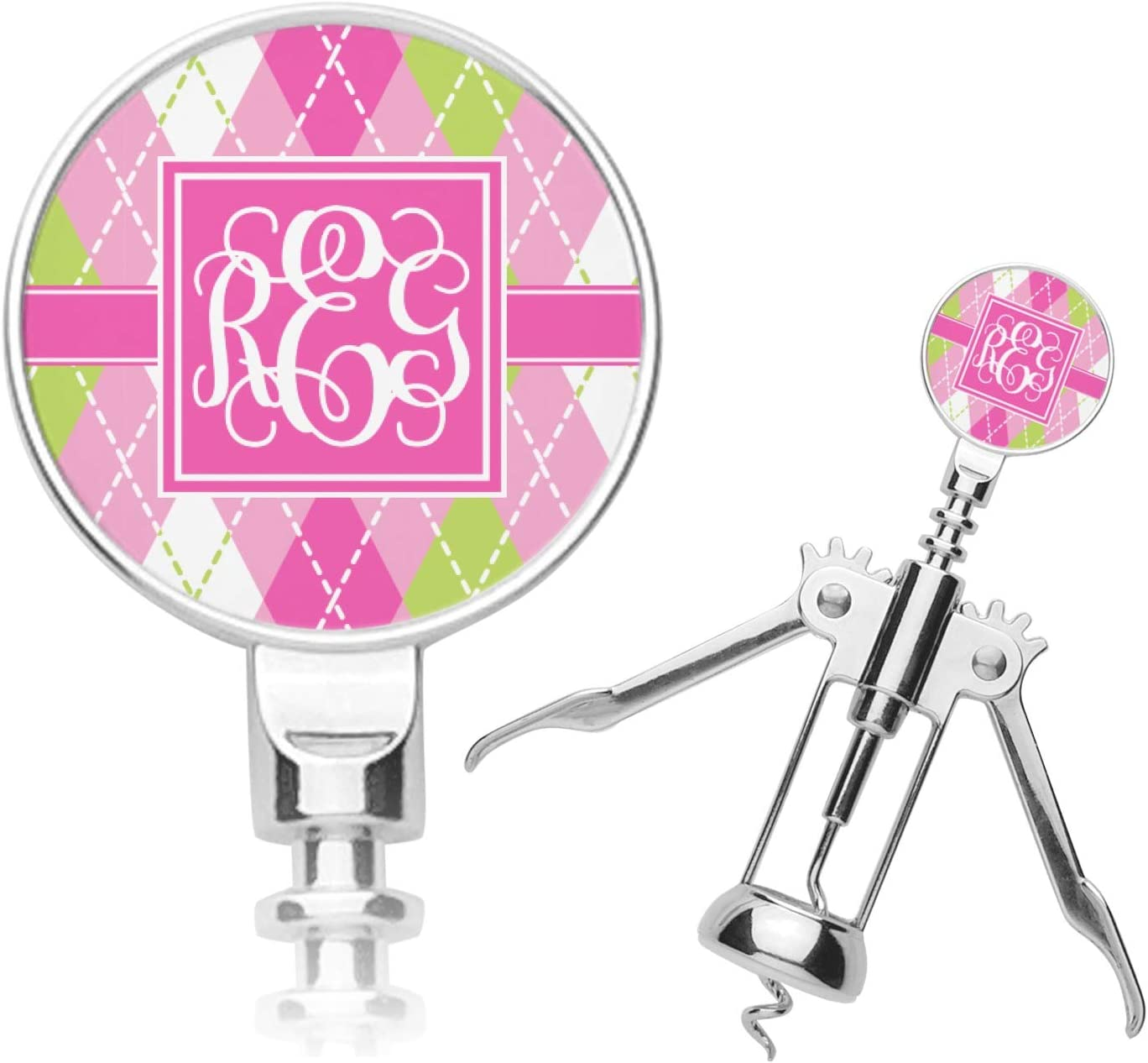 Pink Green Purchase Argyle Max 61% OFF Corkscrew Personalized