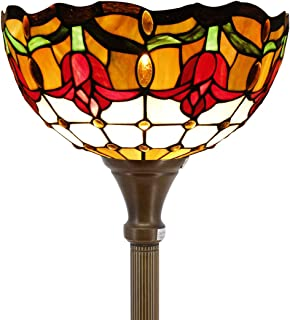 Tiffany Style Torchieres Floor Lamp Table Desk Standing Lighting Wide 12 Tall 66 Inch Tulip Flower Design Cream Stained Glass Lampshade for Living Room Bedroom Antique Set S030 WERFACTORY