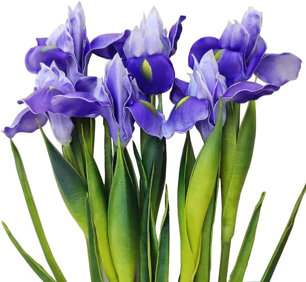 6 Pcs Artificial Iris Flower Fake Real Touch Flower Wedding Home Office Decor Flower Arrangements