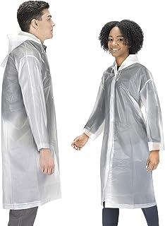 Hagon PRO Rain Coat (2 Pack) - EVA Rain Poncho for Women and Men, Reusable Raincoat One Size White