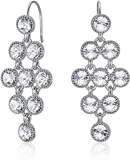 Mestige Women's Rhodium Plated Crystals Larisa Dangle Earrings, Silver - MSER3425