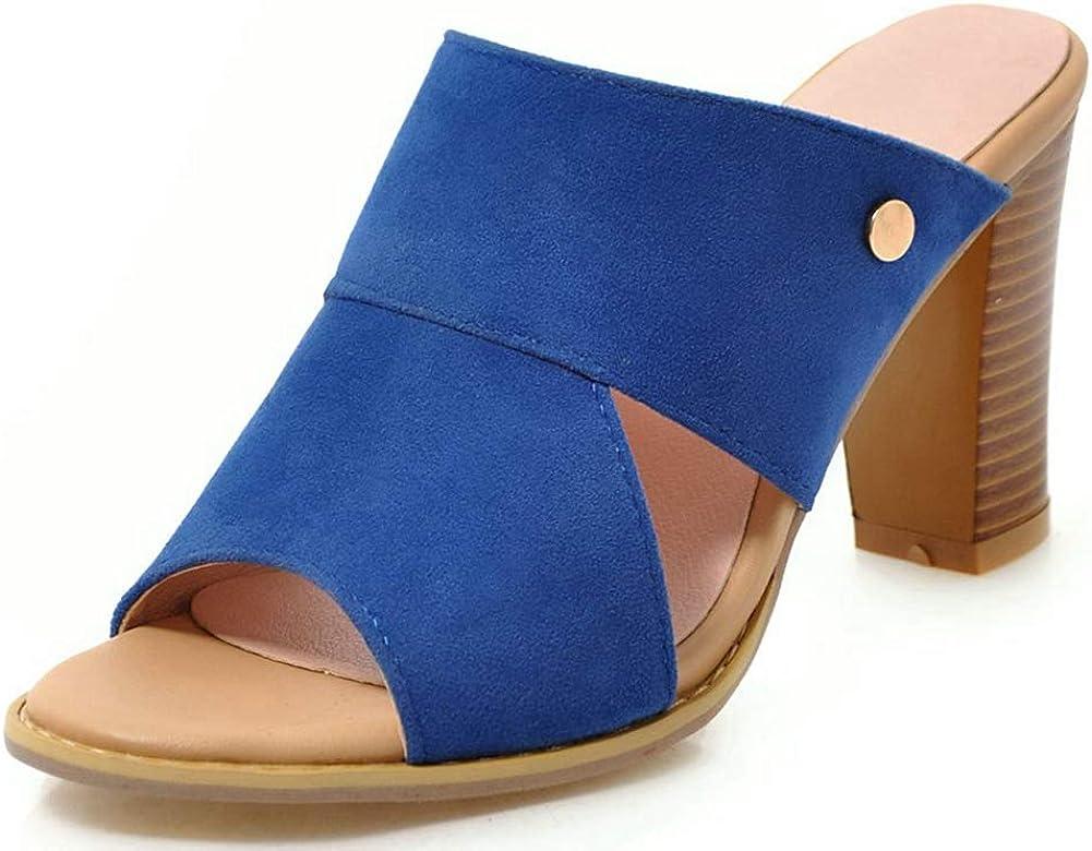 Vimisaoi Women's Summer Chunky Block High Heels Wedges Slide Sandals, Slippers Slider Mules Peep Toe Slip On Cutout Beach Shoes