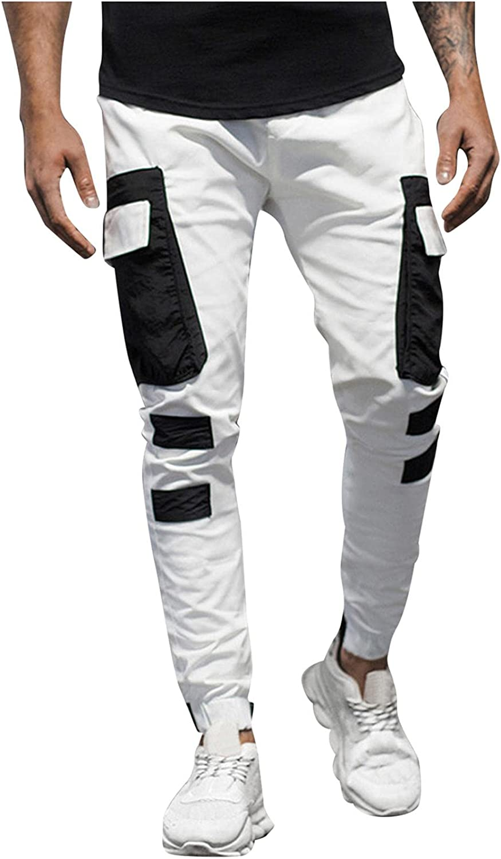 Huangse Hip Hop Joggers Pants for Men Color Block Multi-Pocket Ribbons Sweatpants Streetwear Mens Casual Pencil Pants