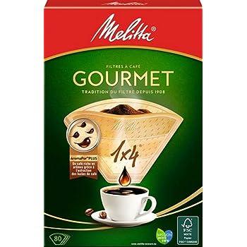 メリタ Melitta コーヒー フィルター ペーパー 4~8杯用 1×4 用 80枚入り グルメシリーズ ブラウン