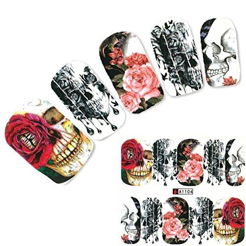 JUSTFOX - Nagel Sticker Tattoo Nail Art Totenkopf Rosen