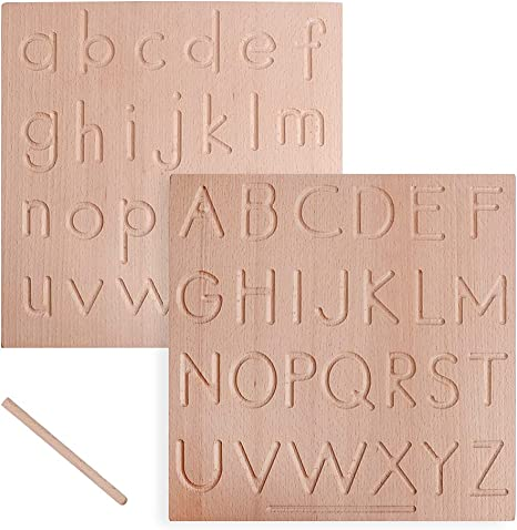 USATDD Wooden Letters Alphabet Tracing Board Double Sided ABC Montessori Toys for Toddlers Preschool Learning Educational Games for Kids Sensory Toys Uppercase Lowercase Handwriting Practice Age 3-6