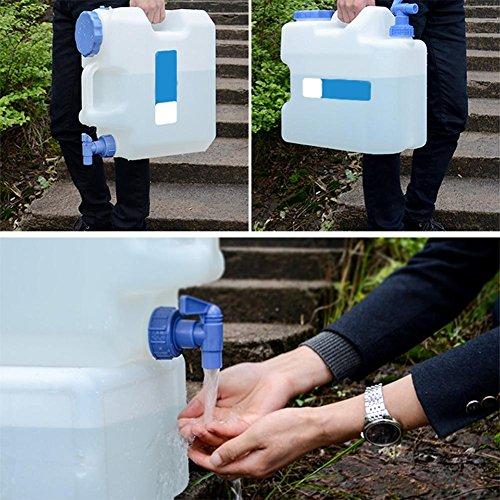 SinceY Draagbare waterdrager voor de auto, 15 l, watertank, met vaste afvoerkraan, waterreservoir, camping, outdoor, BBQ en lange reis, etc., voor thuis drinken en op reis, met waterkraan
